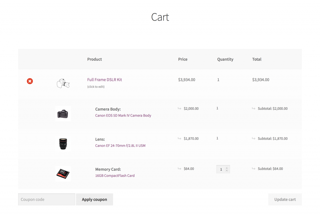 WooCommerce Grouped products