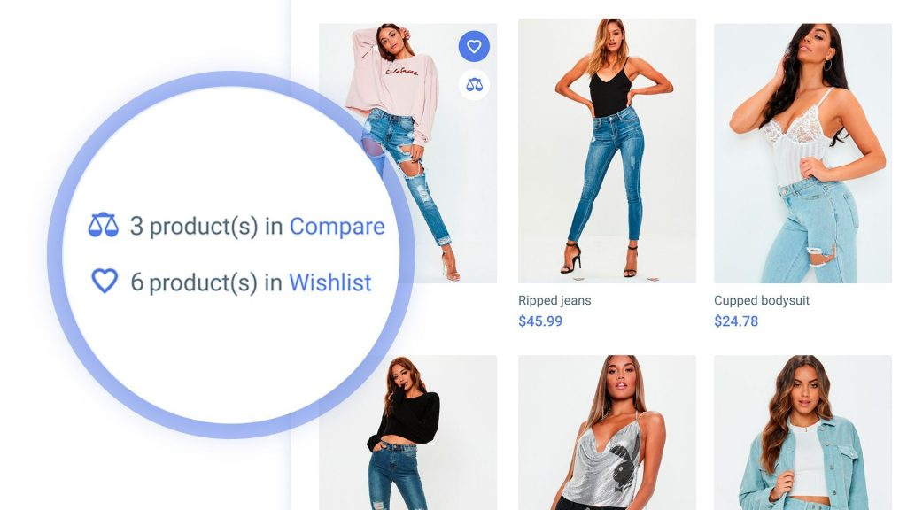 compare and wishlist count
