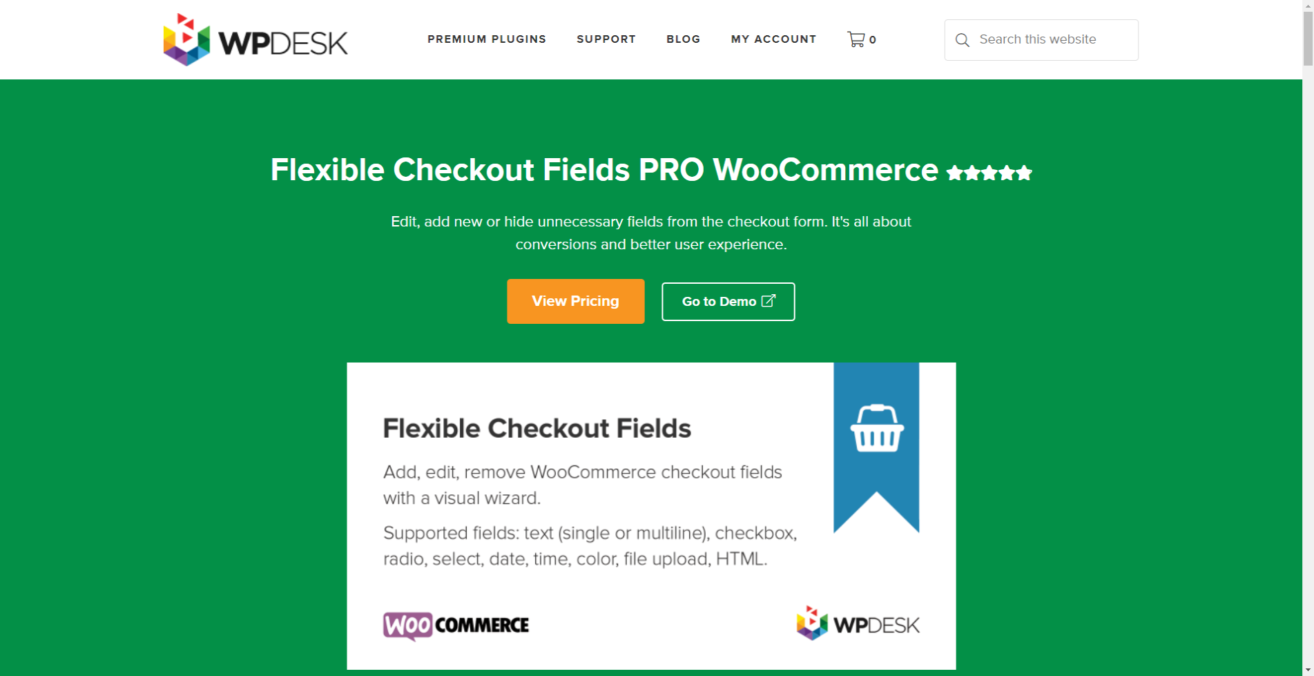 Flexible Checkout Fields Pro WooCommerce plugin page