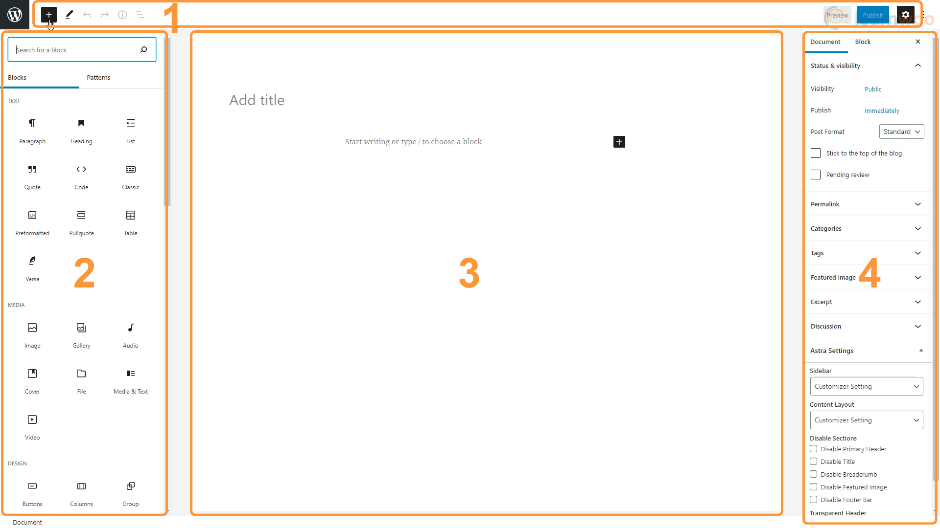 WordPress Block Editor layout