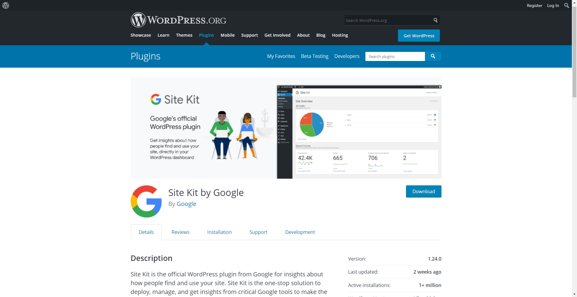 Site kit by Google plugin page