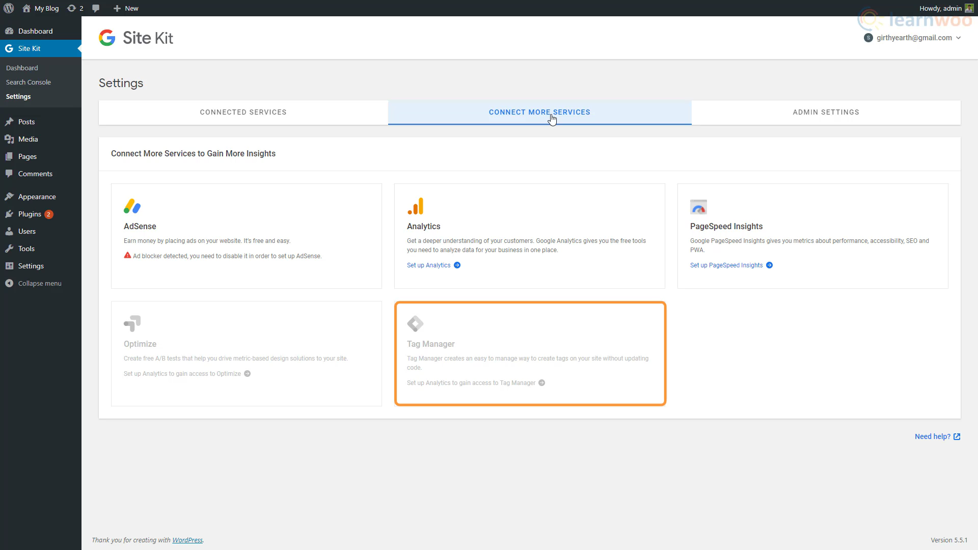 Site Kit in WordPress dashboard