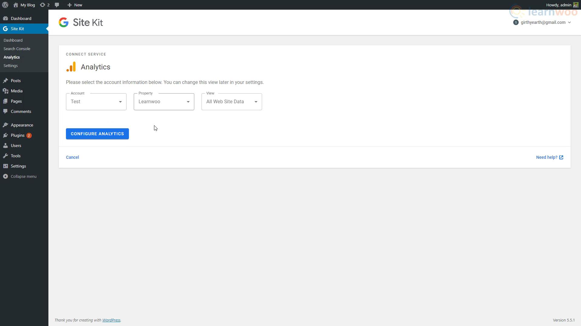 Google Tag Manager on WordPress analytics settings