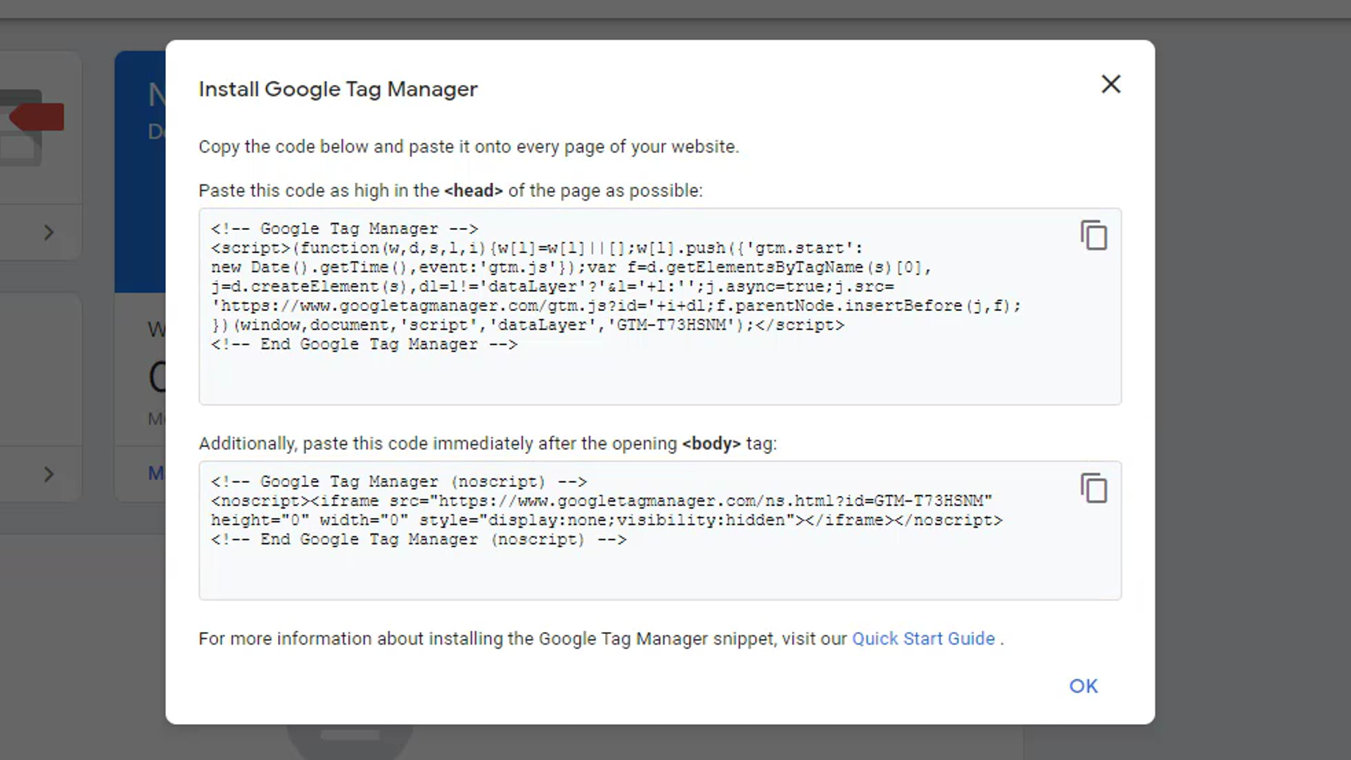 Code snippet provided by Google Tag Manager