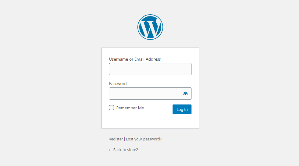 default WordPress login and registration page