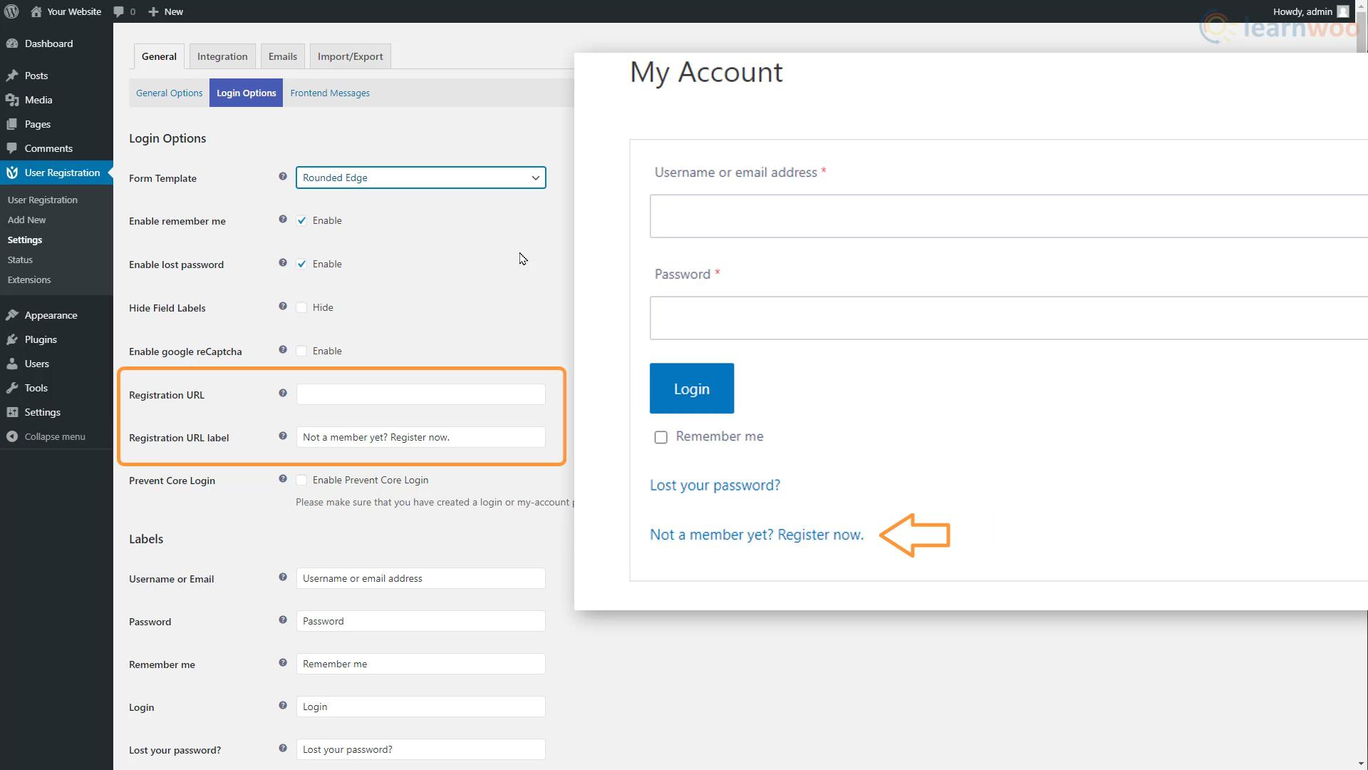User Registration login and registration plugin