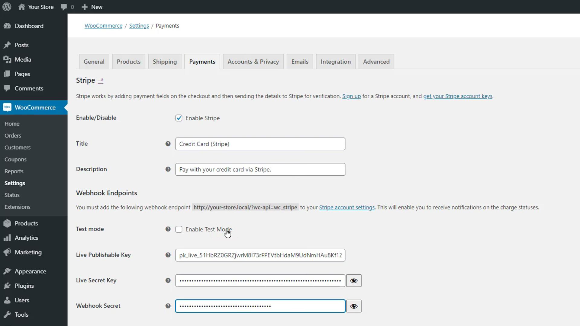 WooCommerce Stripe Payment Gateway plugin