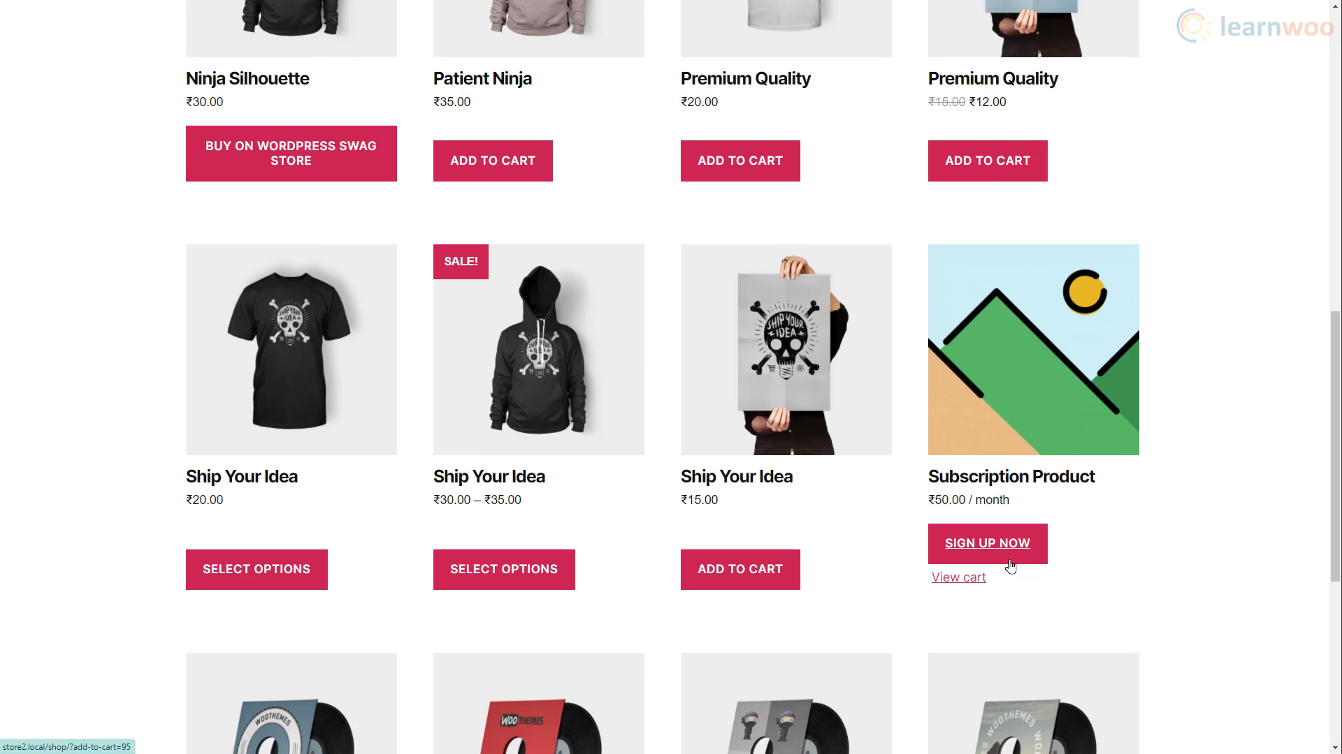 WooCommerce subscription product