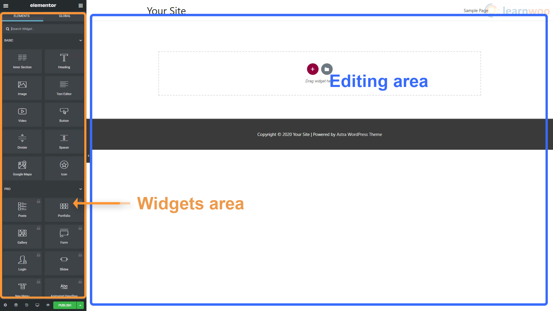 Elementor page builder layout