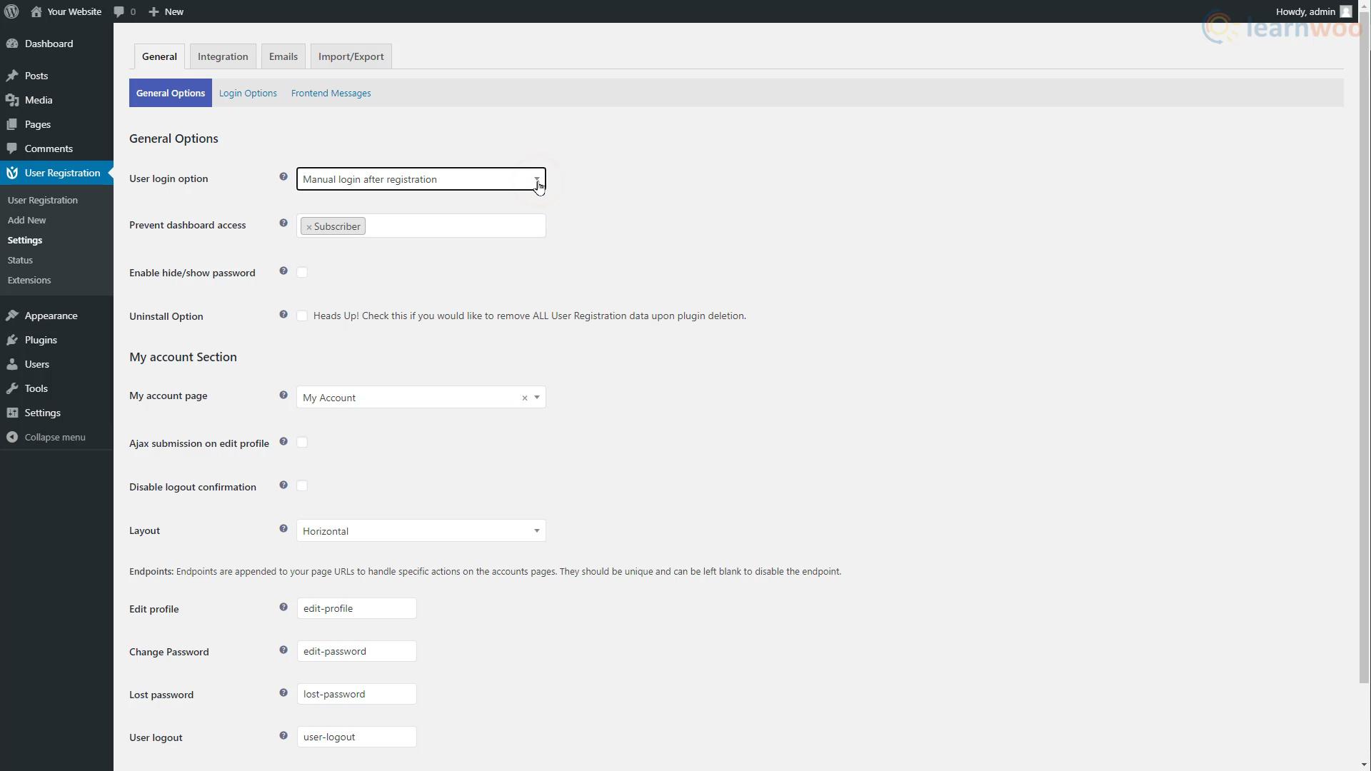 User Registration plugin.