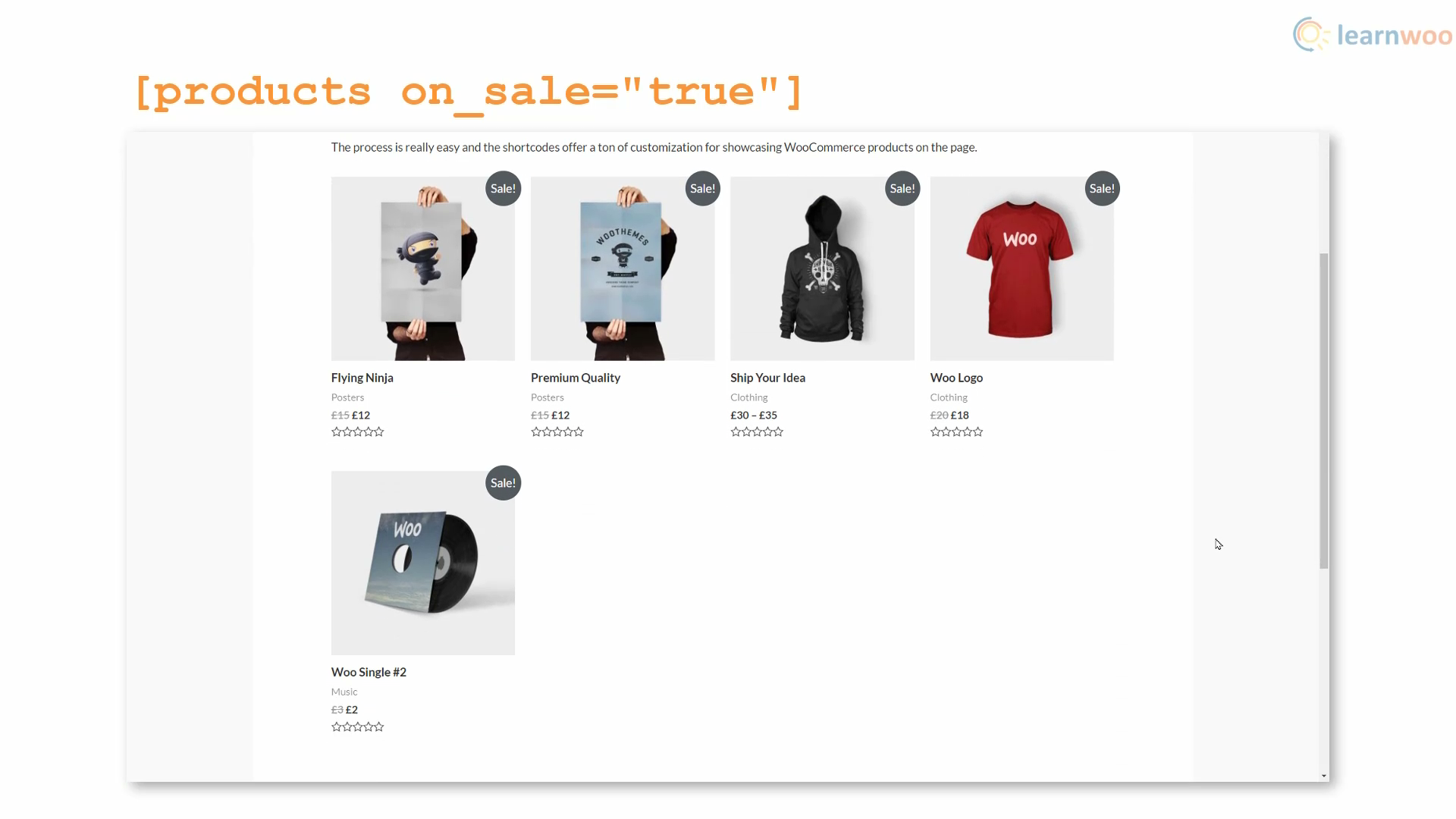 on sale shortcode