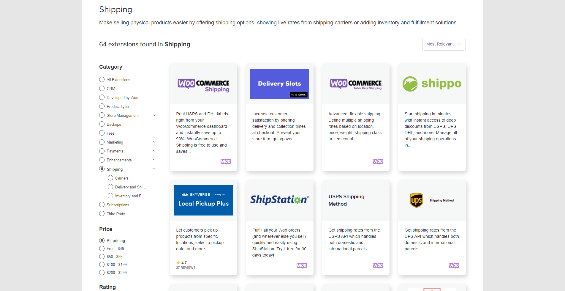 WooCommerce shipping extensions