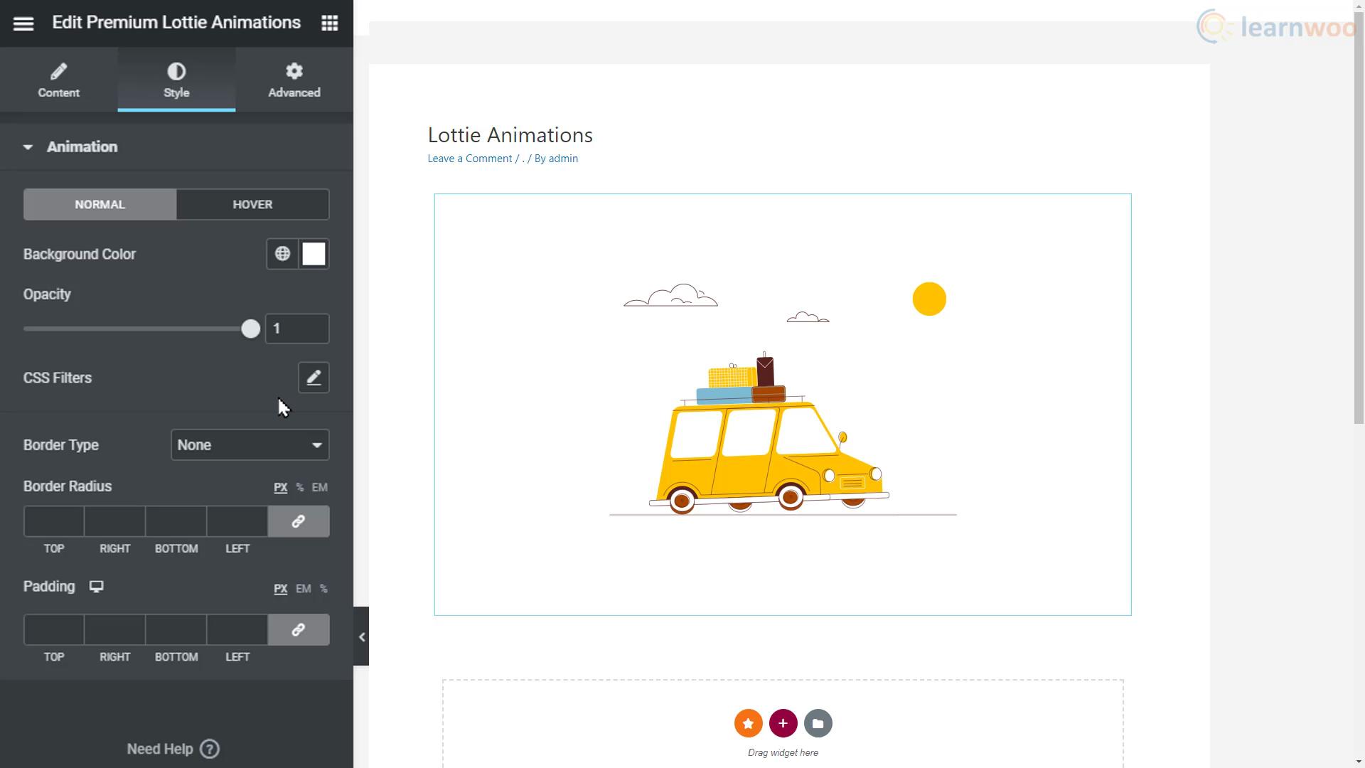 lottie widget style options