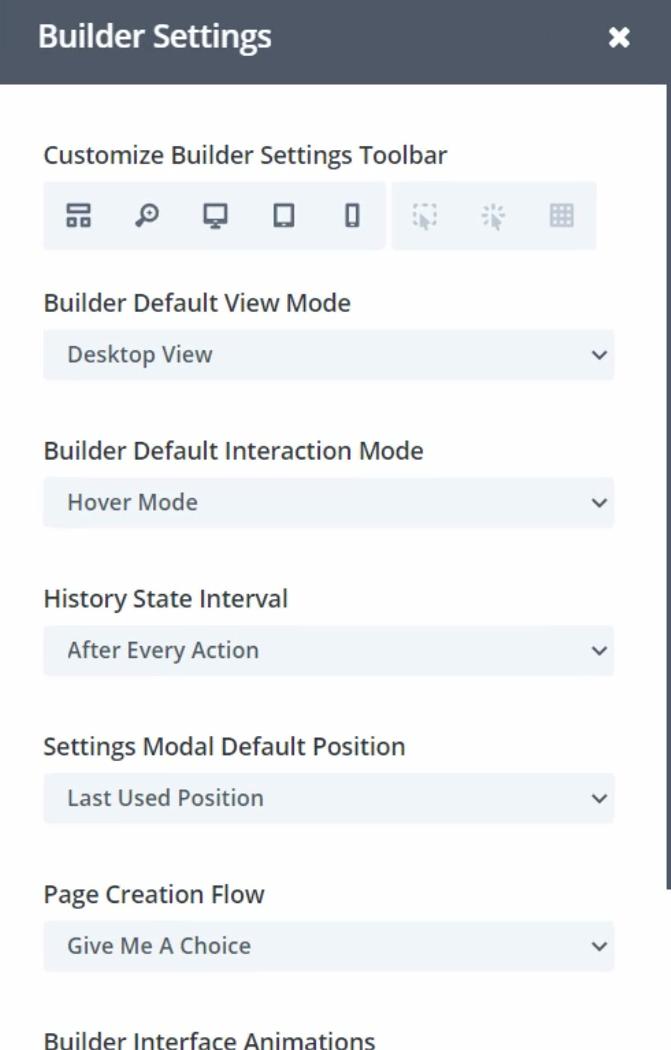 Divi Page builder settings