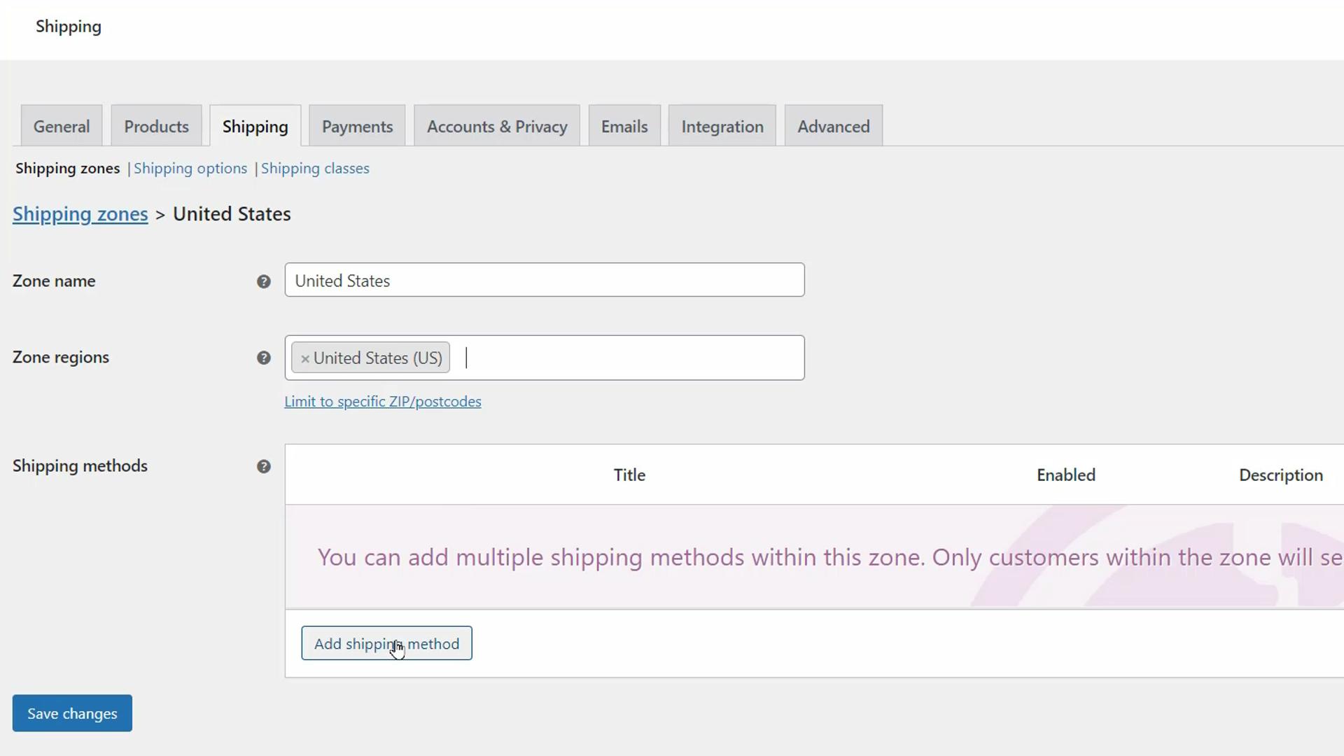 WooCommerce shipping zone