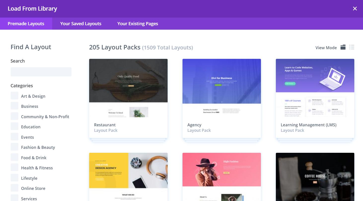divi page builder templates