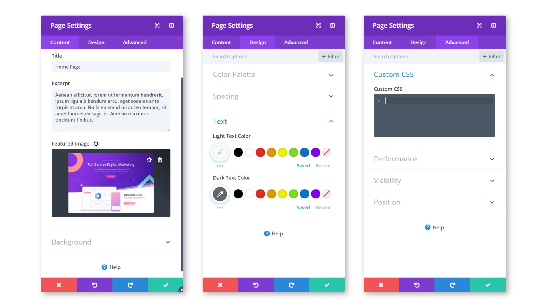 Page customization options